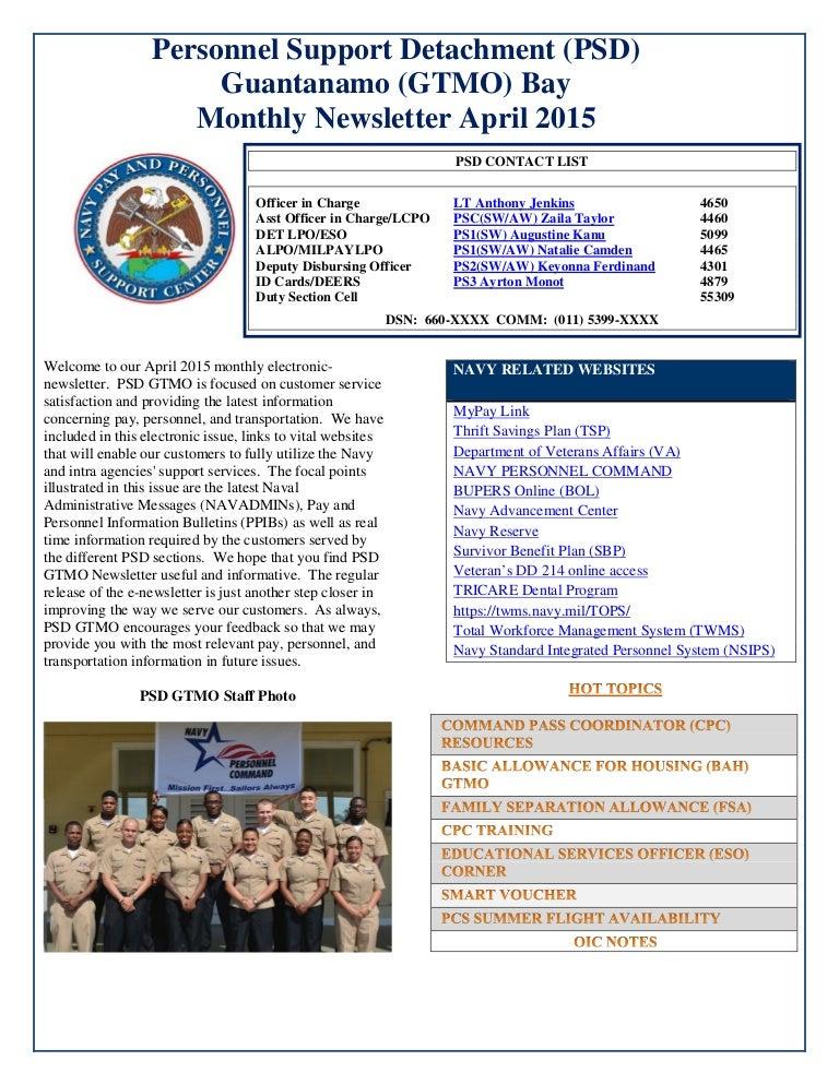 Psd Guantanamo Bay April 2015 Newsletter