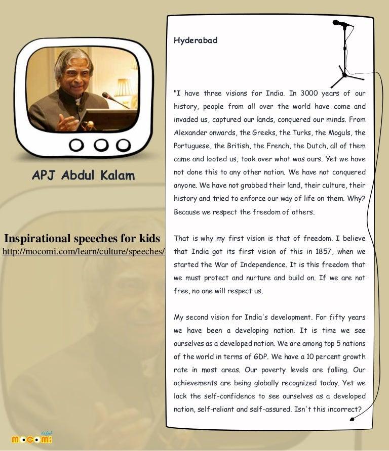 APJ Abdul Kalam - Inspirational Speech for kids – Mocomi com
