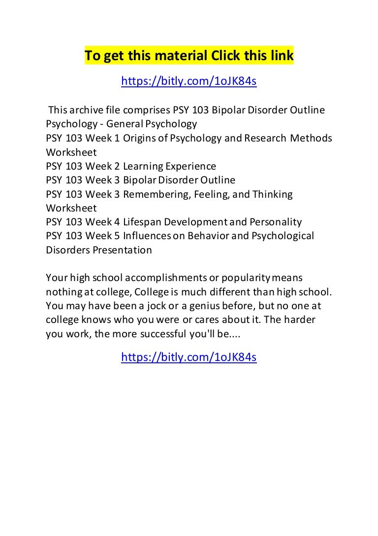Psy 103 bipolar disorder outline – Bipolar Disorder Worksheets