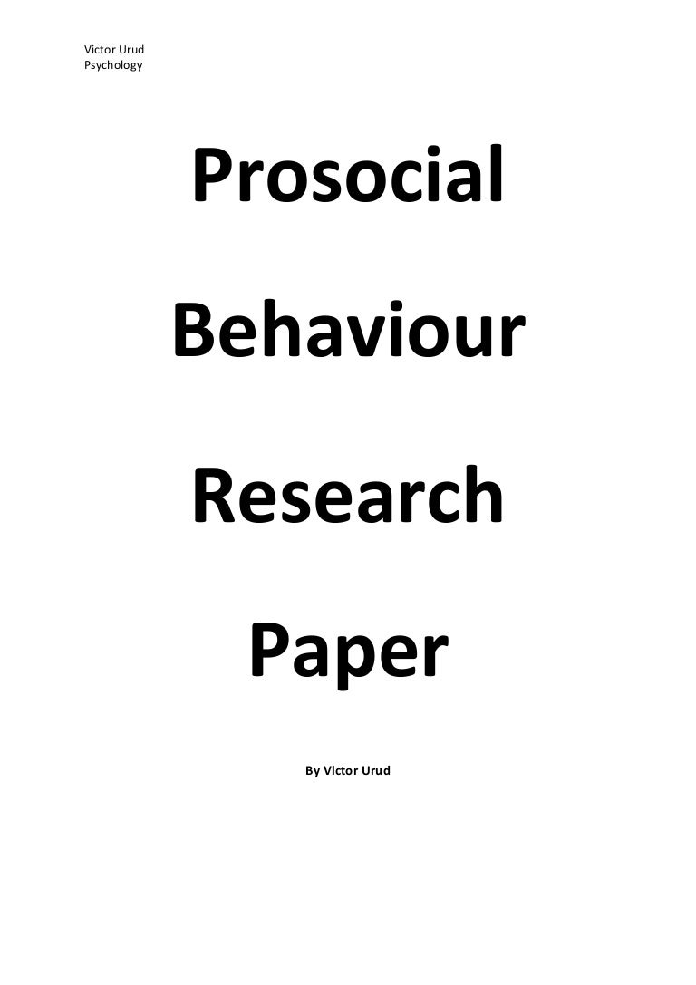 prosocial behaviour research paper
