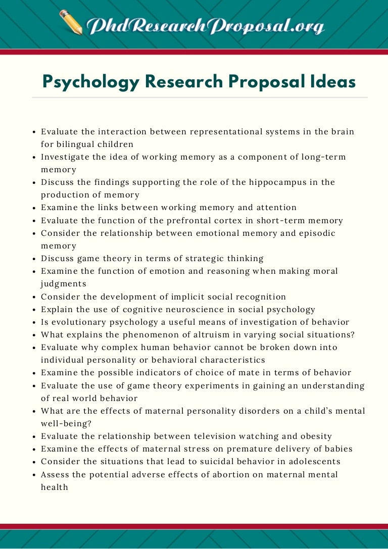 dissertation ideas for psychology