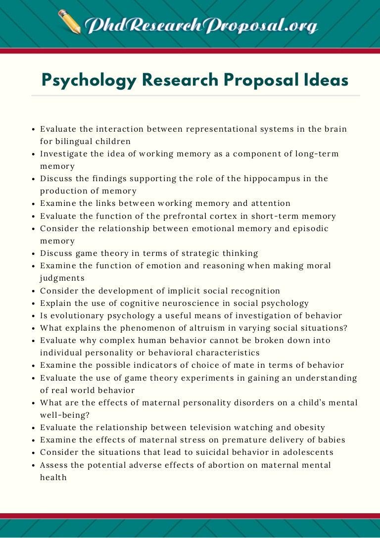 psychology proposal ideas