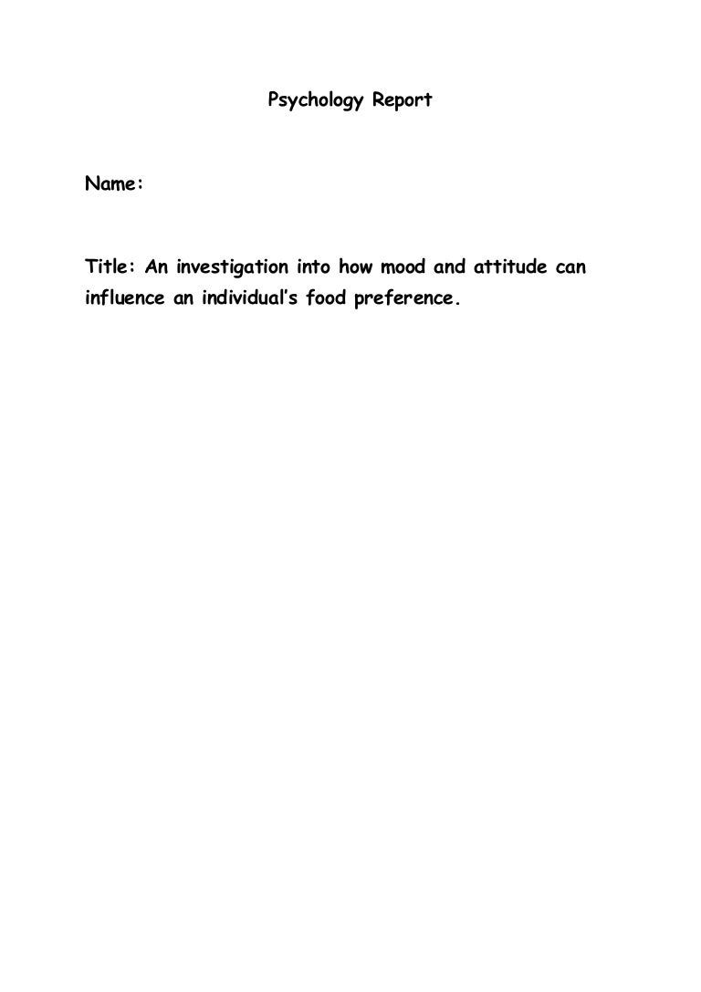 Psychology report template