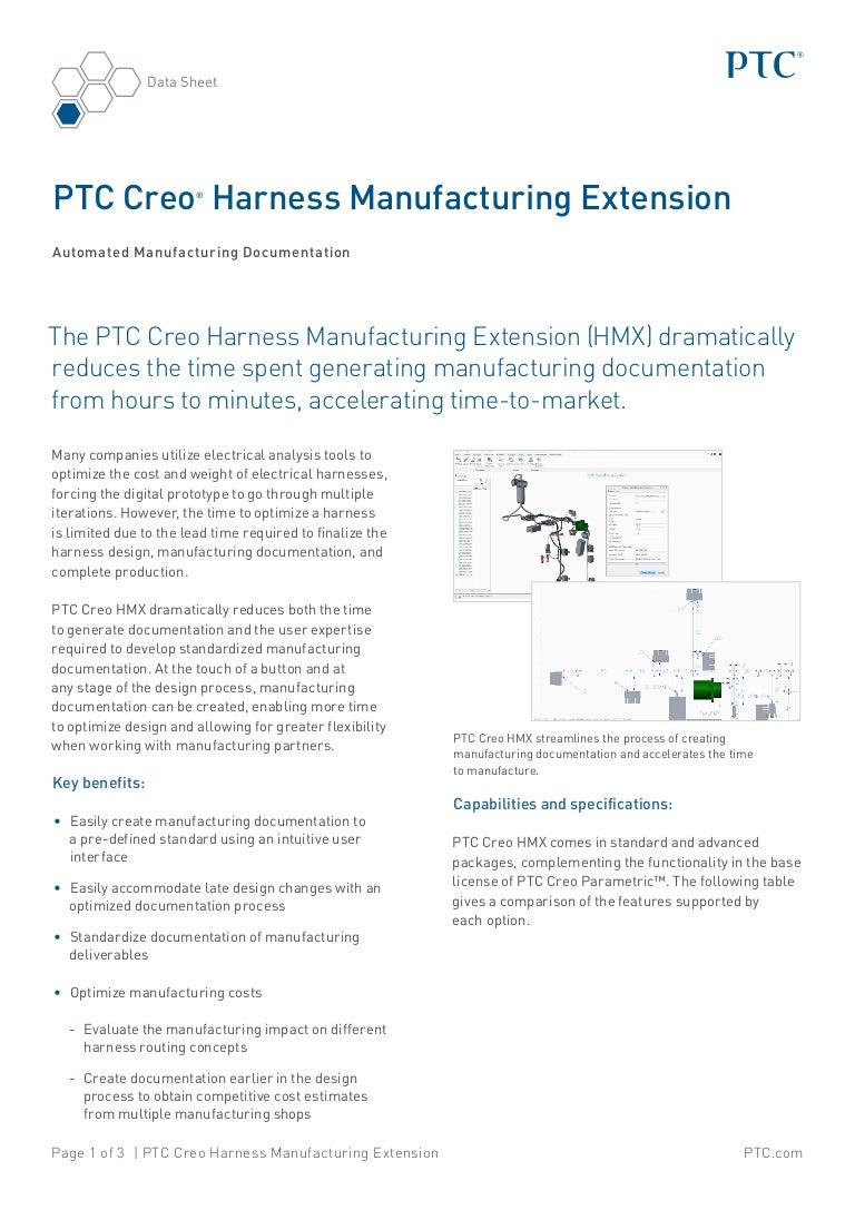 Ptc Creo Harness Manufacturing Extension Data Sheet Wiring Optimization