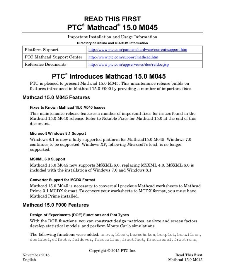 Ptc Mathcad 15 0 m045 read this first