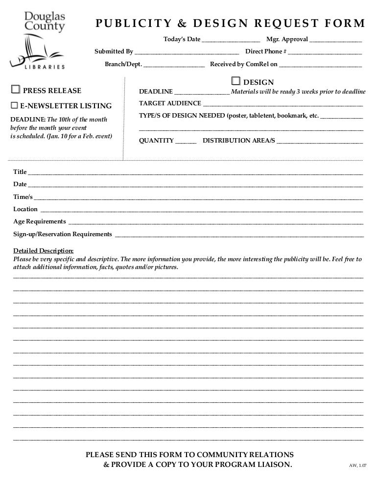 Publicity Design Request Form – Publicity Release Form