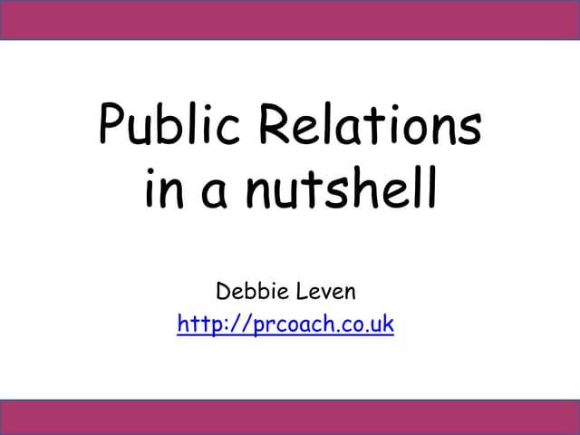 Public Relations in a nutshell