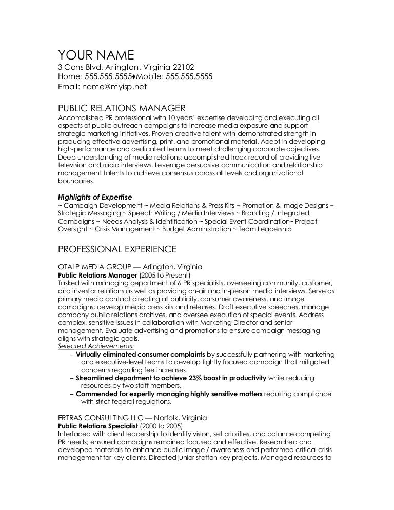 public relations manager cv template - Sample Public Relations Manager Resume