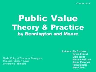 Bennington and Moore - Public Value Theory & Practice - Marian Zinn