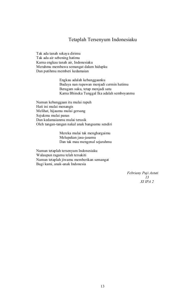 Puisi Pendek Cinta Tanah Airku Archidev
