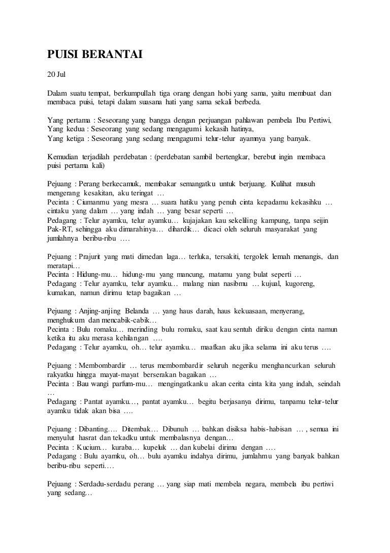 Puisi Berantai Pejuang Kemerdekaan Brad Erva Doce Info