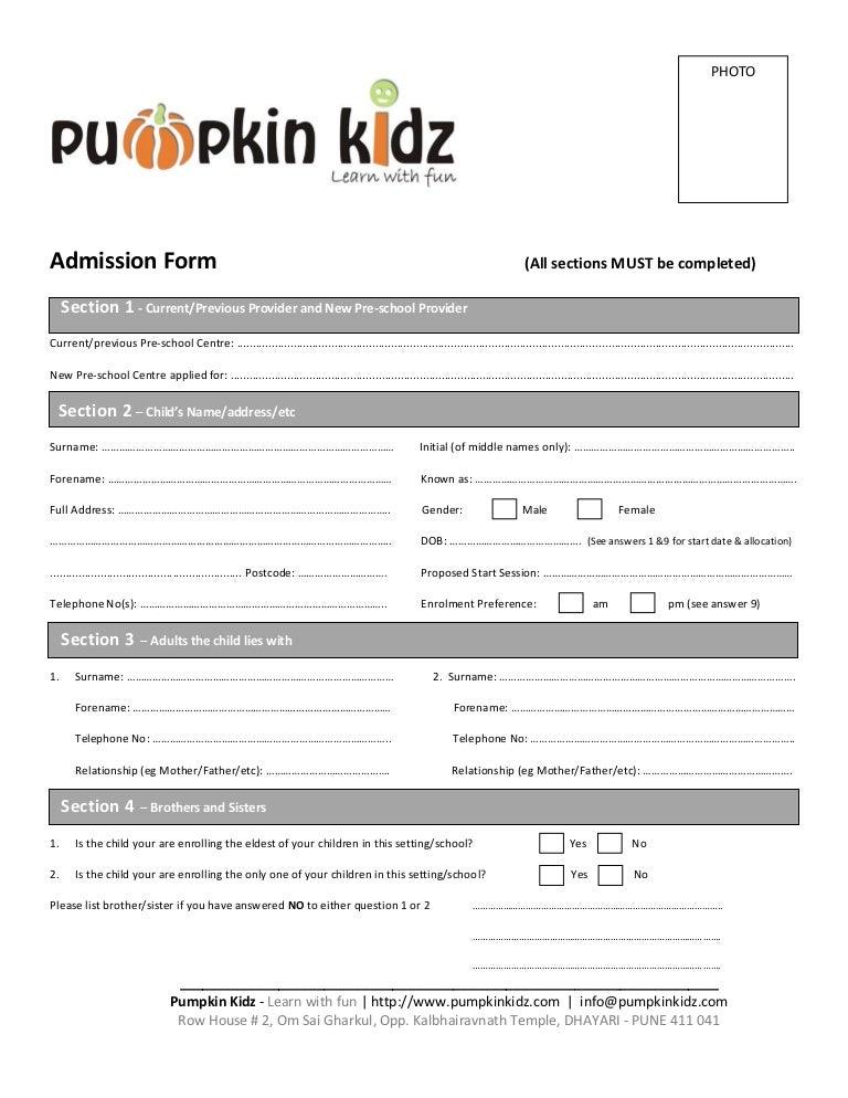 SlideShare  Format Of Admission Form
