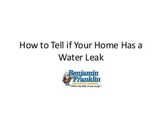 Punctual plumber dallas how to tell if your home has a water leak