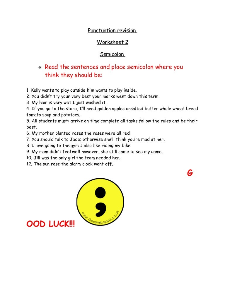 Semicolon Colon Worksheet - Delibertad