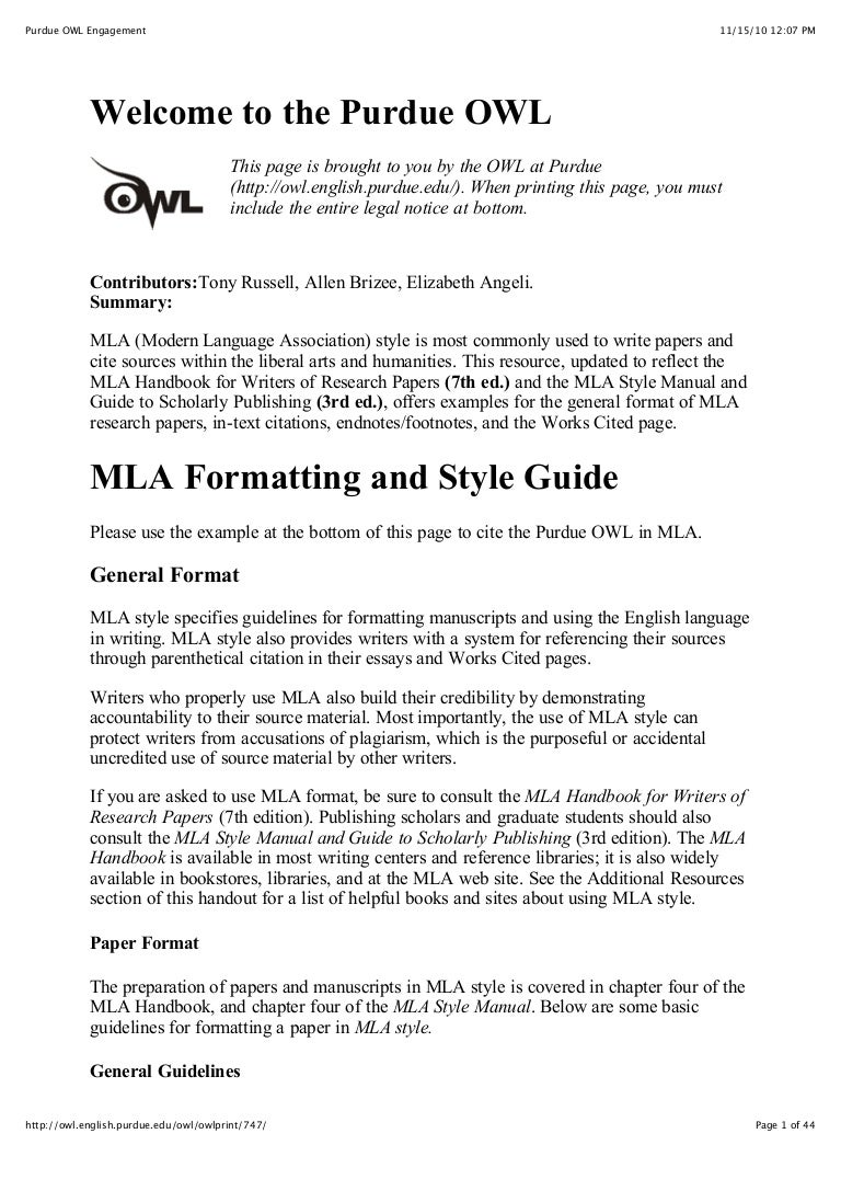 writing in mla format examples