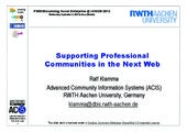 Supporting Professional Communities in the Next Web