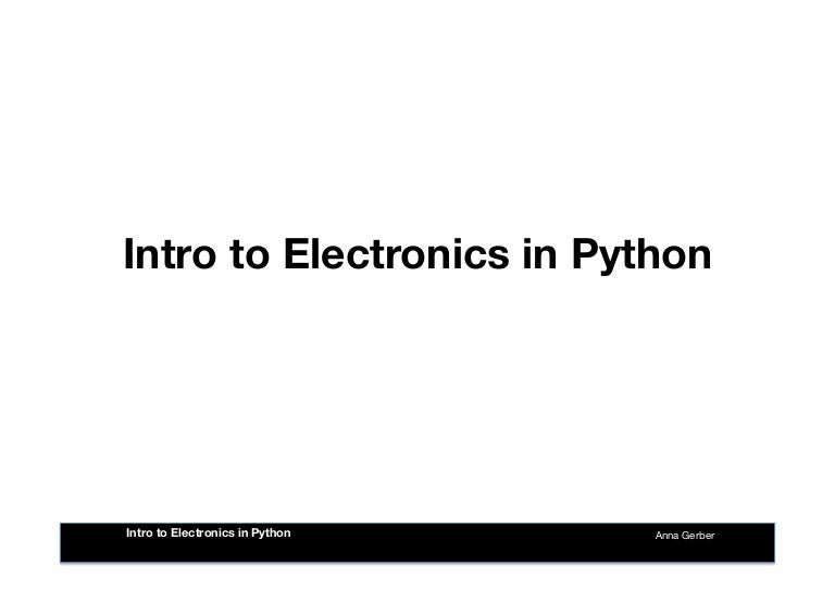 intro to electronics in python