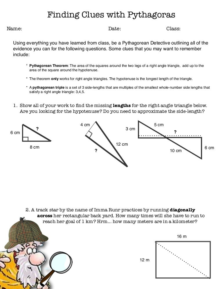 Worksheets Pythagorean Triples Worksheet pythagorean clues worksheet