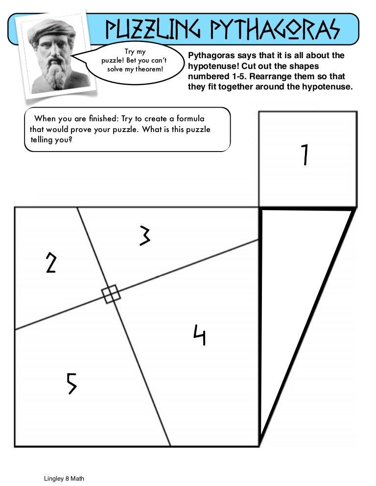 {Pythagorean Puzzle – Pythagorean Theorem Puzzle Worksheet