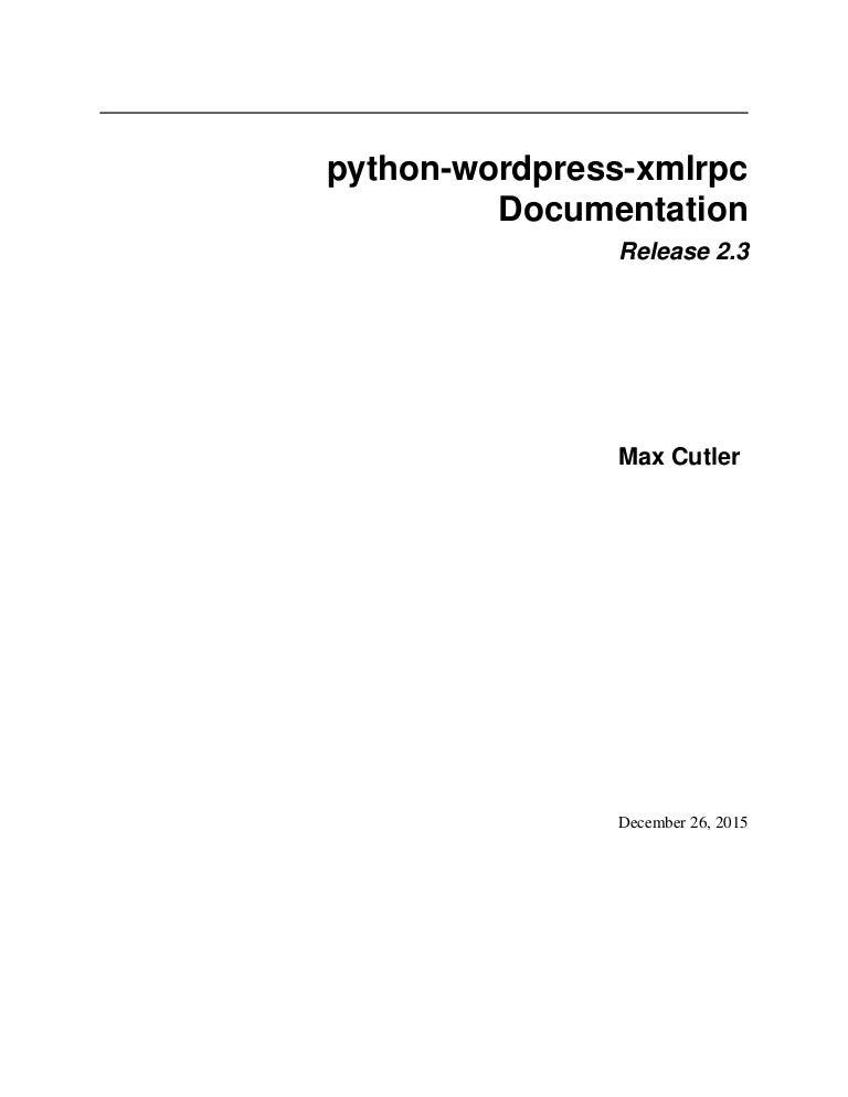 Python wordpress-xmlrpc