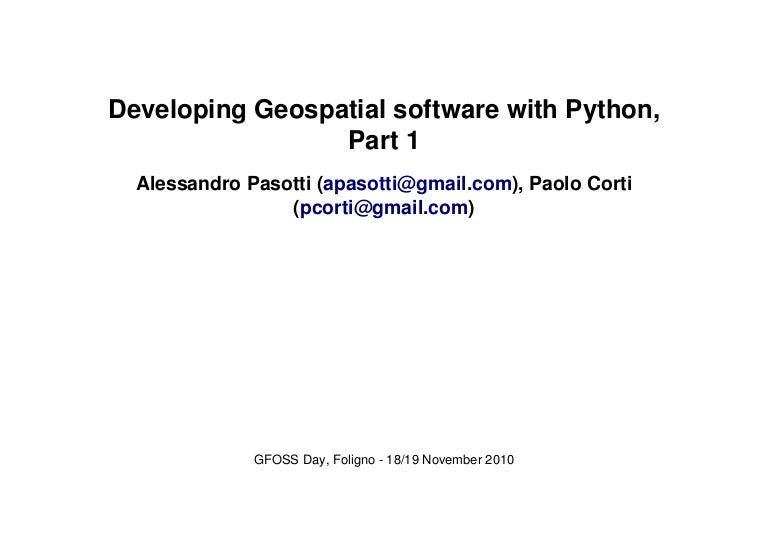 Developing Geospatial software with Python, Part 1