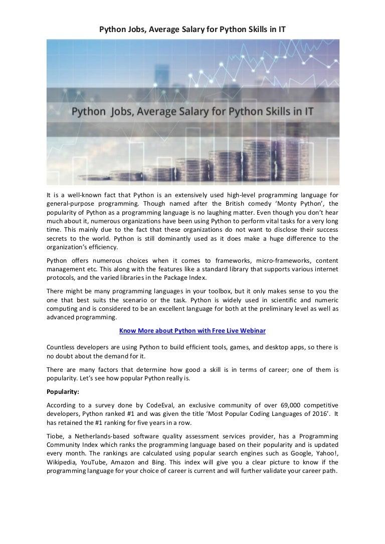 Python jobs, Average Salary for Python Skills in IT