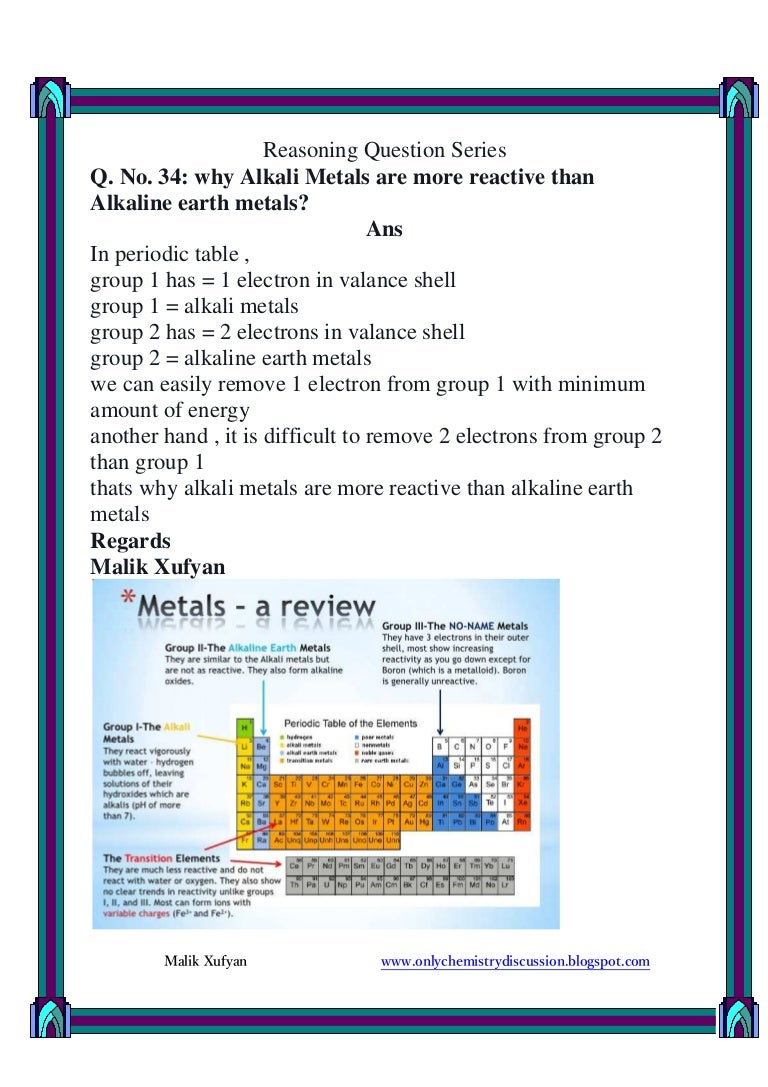 Q no 34 why alkali metals are more reactive than alkaline earth me 34 why alkali metals are more reactive than alkaline earth me gamestrikefo Gallery