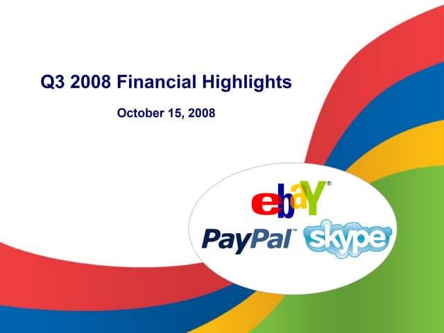 eBay 2008, Q3 Earnings