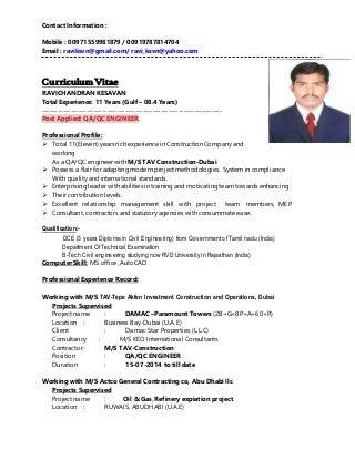 resume qa qc engineer
