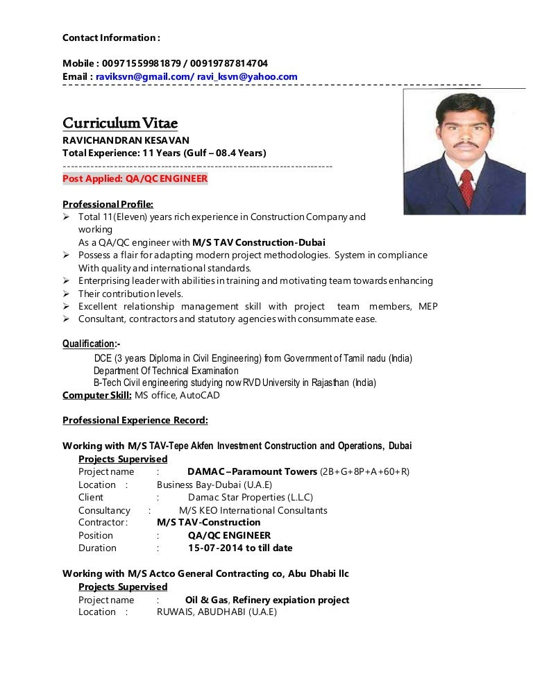 Civil Qa Qc Engineer Resume Image collections - resume format ...