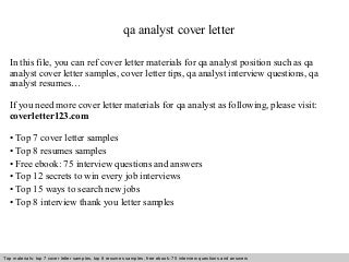 Beautiful Quality Assurance Analyst Cover Letter Pictures ...