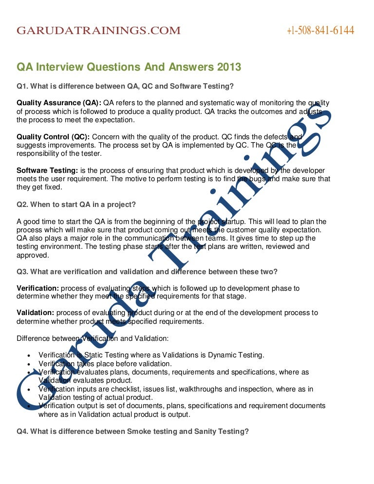 qa interview questions and answers - Qa Interview Questions And Answers Quality Assurance Interview