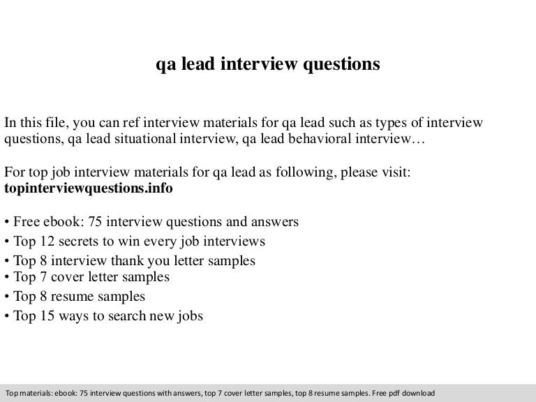 qa lead interview questions - Qa Interview Questions And Answers Quality Assurance Interview