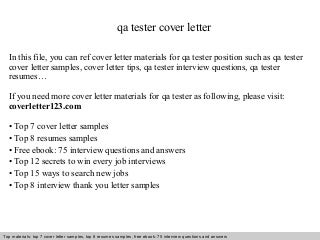 Qa Tester Cover Letter Video