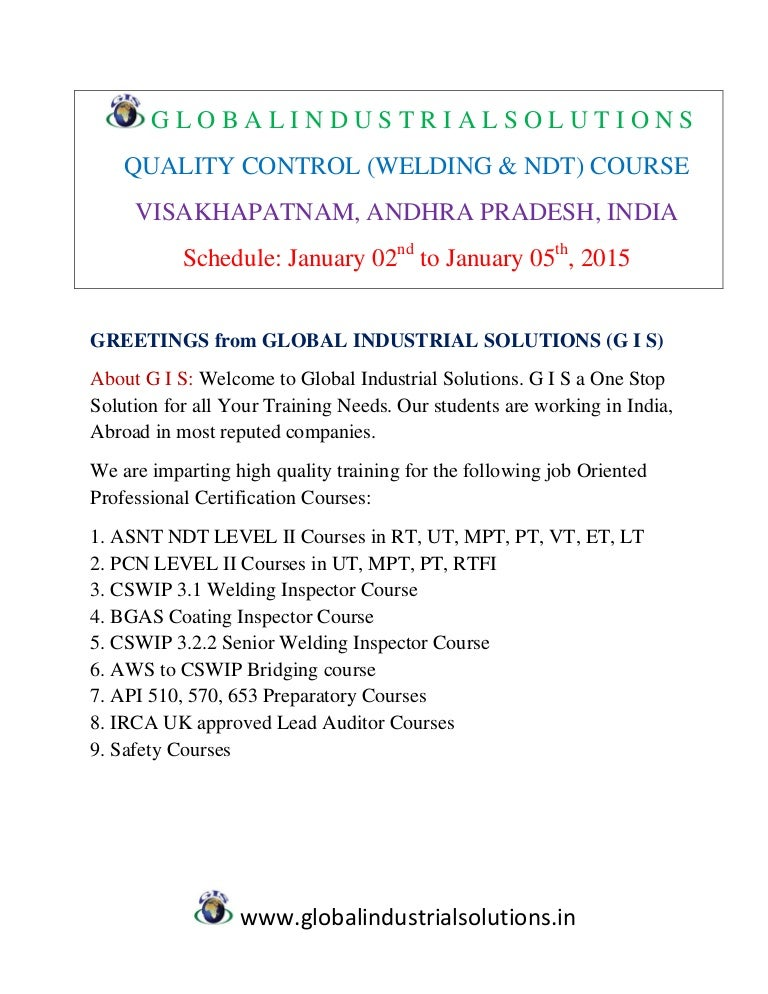 Qc (welding & ndt) course