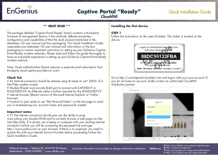 Quick Installation Guide Captive Portal Cloud4Wi English