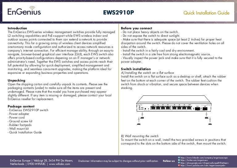Quick Installation Guide EWS2910P English