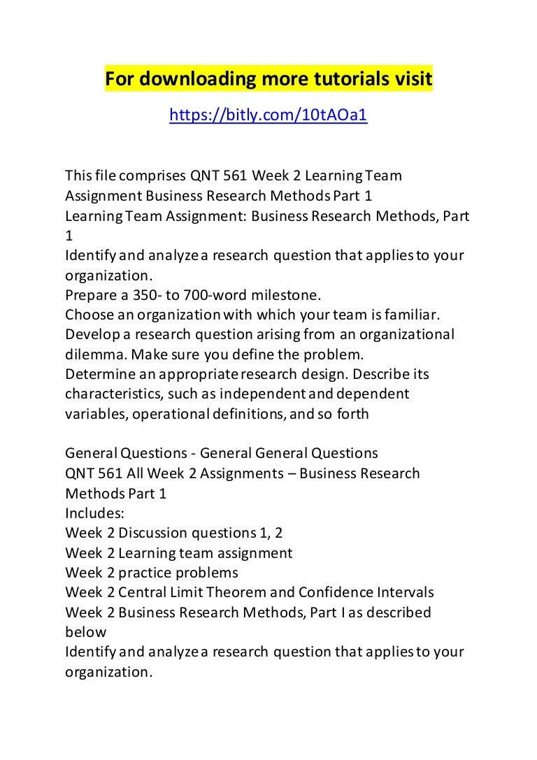 research methods assignments