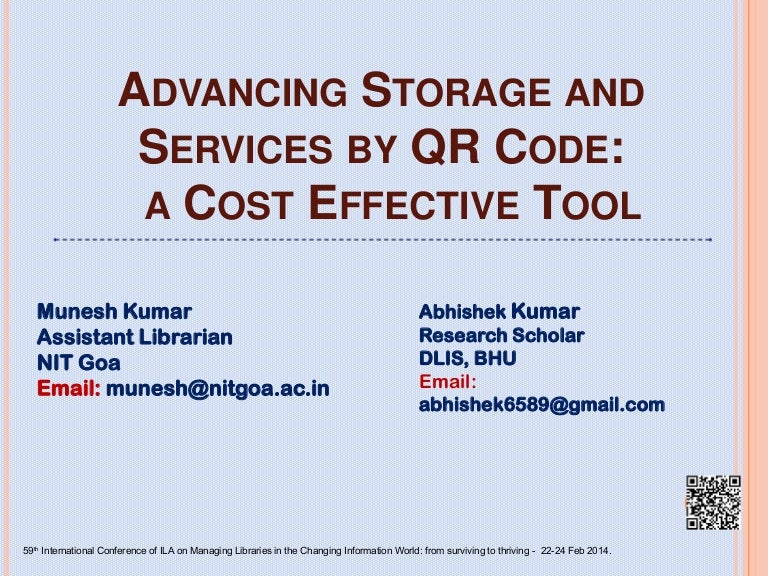 Advancing storage and services by QR Code: a cost effective tool