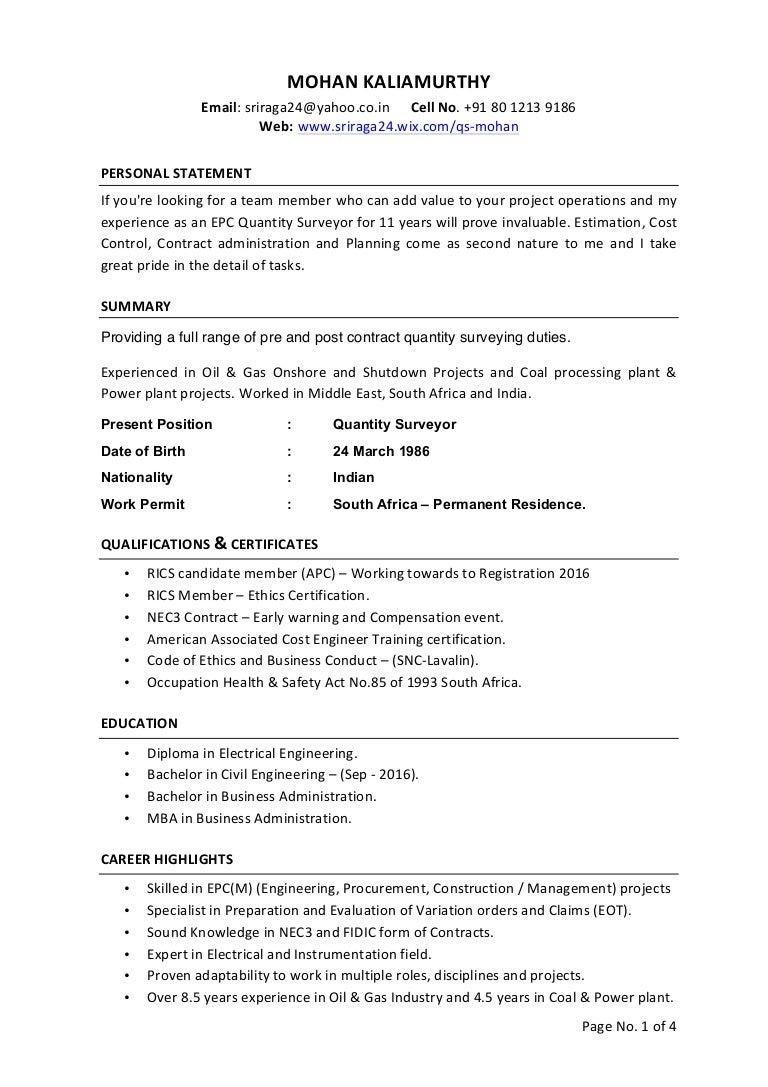 quantity surveyor cv quantity surveyor resume