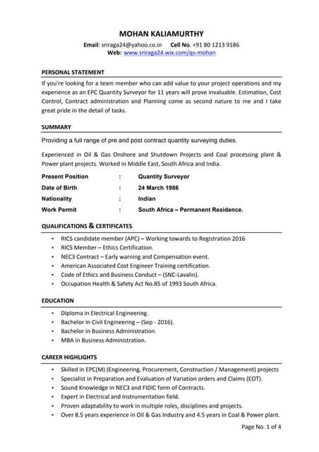 resume quantity surveyor quantity surveyor resume