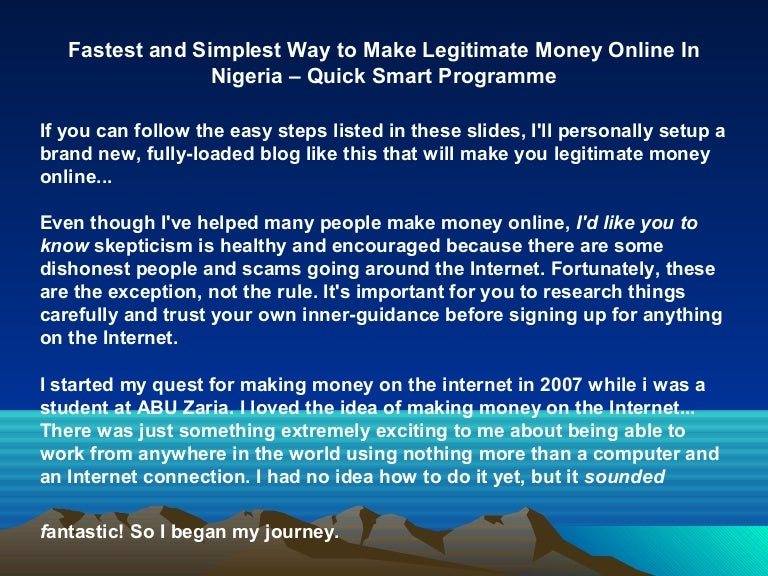 Fastest and Simplest Way to Make Legitimate Money Online In Nigeria –…