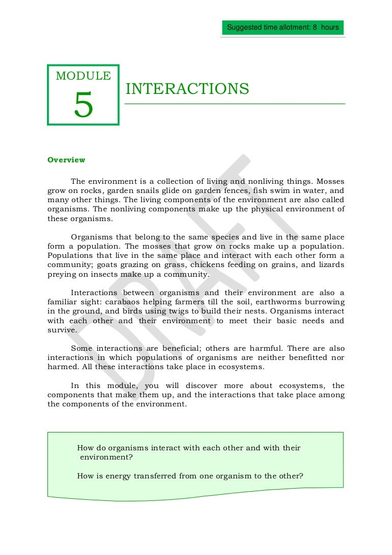 Note Taking Worksheet Answers Interactions Living Things