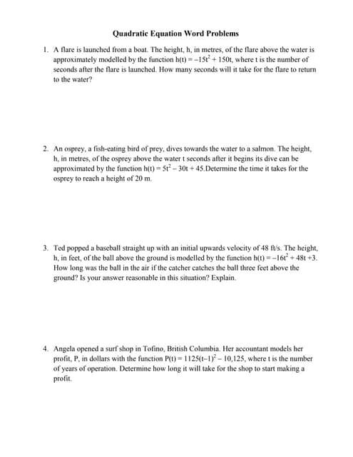 Word problems involving quadratic equations. | Quadratic Equation ...