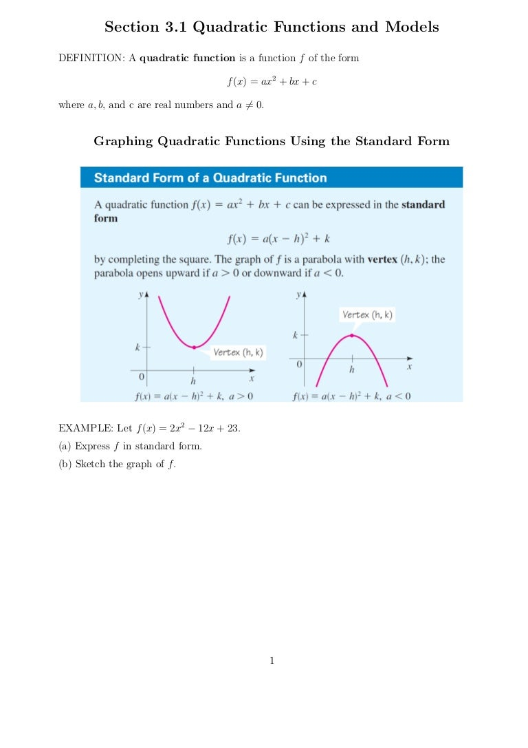 Quadratic functions and models falaconquin