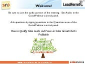 Qualify Sales Leads to Focus on Profitable Sales Growth