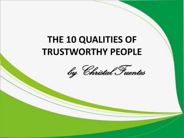 Qualities of Trustworthy People