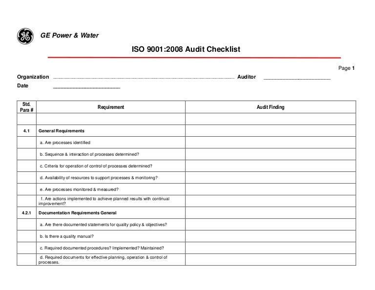 Quality Management System Checklist P28a Al 0002