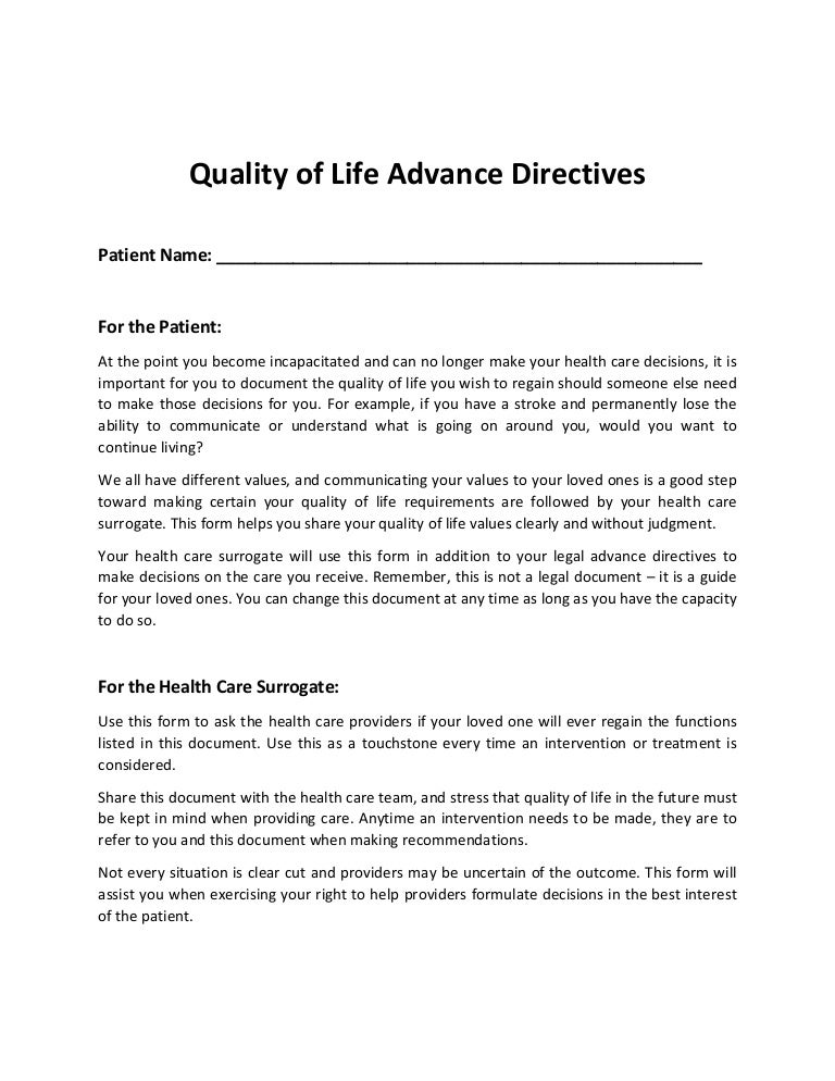 Quality of-life-advance-directive-form