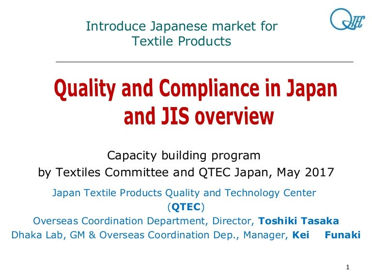 Quality And Compliance In Japan And Jis Overview